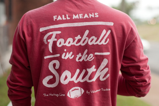 Fall Football Long Sleeve Tee Crimson with White