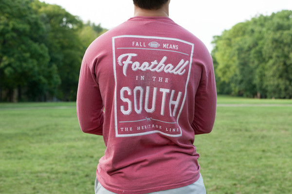 Crimson Football in The South Long Sleeve Tee