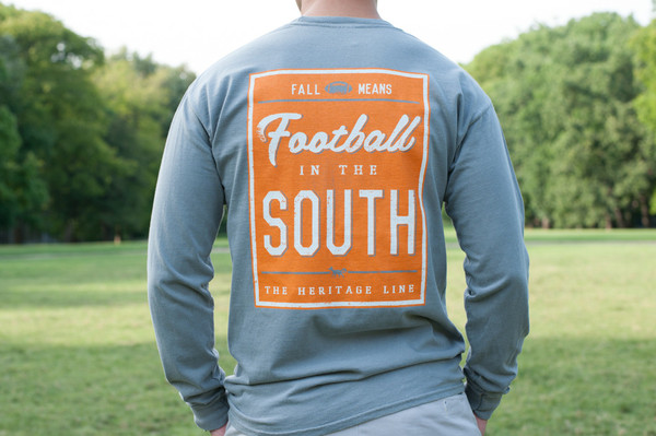 Grey with Orange Football in the South Long Sleeve Tees