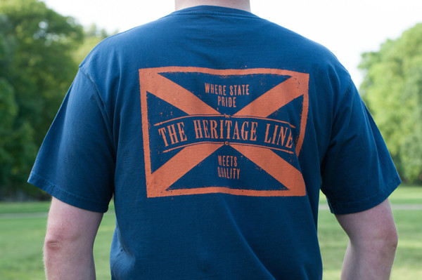 Alabama Flag Pocket Tee - Navy with Orange