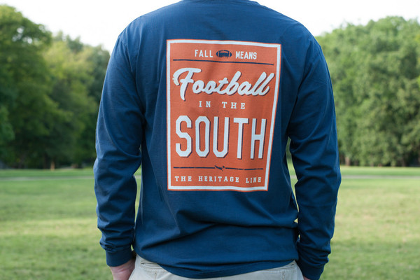 Navy with Orange Football in The South Long Sleeve Tees