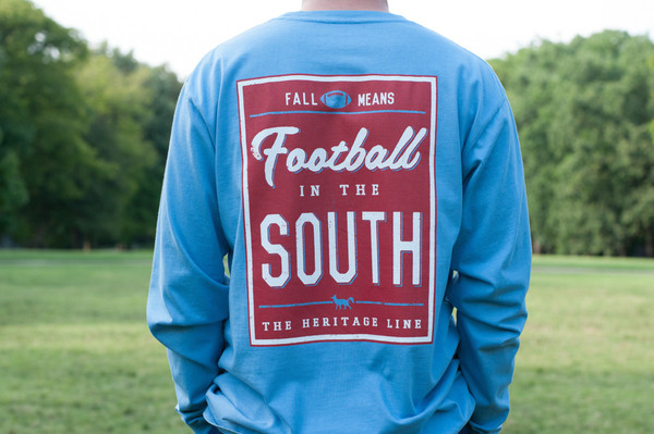 Blue with Red Football in The South Long Sleeve Tee