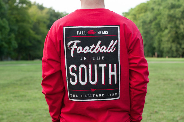 Red with Black Football in The South Long Sleeve Tee